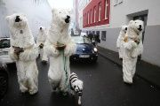 People dressed as polar bears demonstrate at the COP 23 UN Climate Change Conference in Bonn, Germany, November 2017.