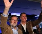 Spain's Prime Minister Mariano Rajoy campaigning with the leader of his PP party in Catalonia.
