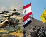 Israeli Apache helicopters take part in training exercises (L) and Hezbollah fighters storm a hill alongside Syrian soldiers in a Syrian government photo (R).
