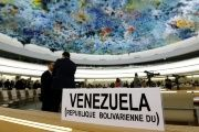 The name place sign of Venezuela is pictured on the country's desk at the 36th Session of the Human Rights Council at the United Nations in Geneva. (FILE)