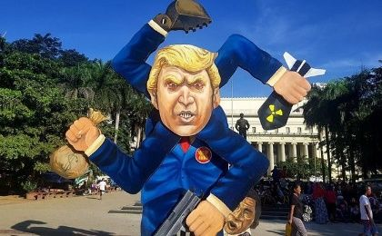 "The 13-foot Trump effigy that served as a ""fascist spinner"" before being burnt by protesters in the Philippines."