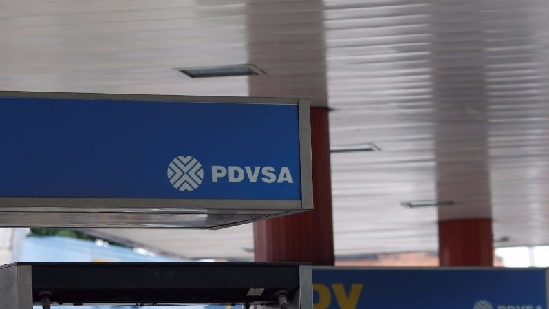 The corporate logo of the state oil company PDVSA is seen at a gas station in Caracas, Venezuela November 13, 2017.