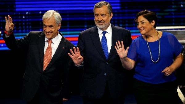 "Chilean presidential candidates, (L-R) Sebastian Pinera from ""Chile Vamos"" (Let"