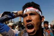 A supporter of the Houthi movement shouts slogans as he takes part in a demonstration against the closure of Yemen's ports by the Saudi-led coalition in Sanaa, Yemen November 13, 2017.