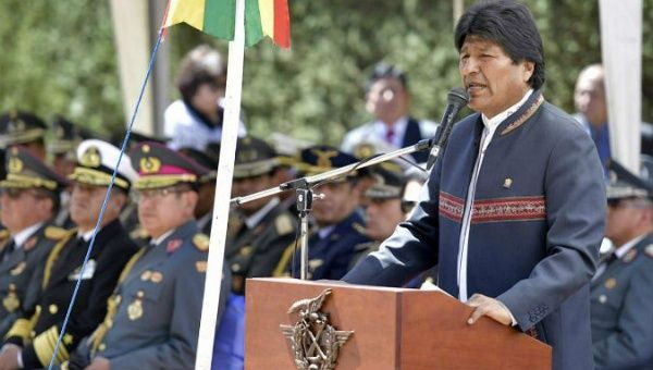 "Bolivian President Evo Morales speaking at the handover of the former USAID headquarters, a place he called a source of ""colonial political domination."""