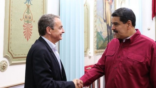 Jose Luis Rodriguez Zapatero, former Prime Minister of Spain, meets with Venezuelan President Nicolas Maduro in Caracas, Nov. 15, 2017.