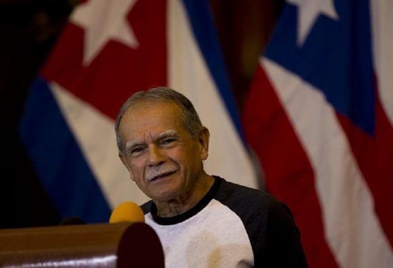 Lopez Rivera at a press conference at the University of Havana.