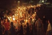 White nationalists carry torches on the grounds of the University of Virginia.