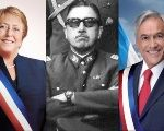Left to right: Outgoing President Michele Bachelet (L), late dictator Gen. Augusto Pinochet (C), former president and current contender Sebastian Piñera.