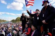 Puerto Ricans gather at the National Mall near the Washington Monument, Nov. 19, 2017.