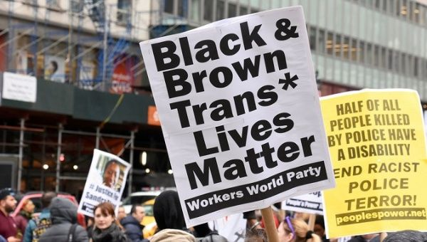 A New York City protest in support of transgender lives.