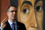 Venezuela's Foreign Affairs Minister Jorge Arreaza addresses the media during a news conference in Caracas.