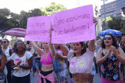 Women's rights activists protest against a bill to ban abortion in Rio de Janeiro.