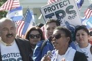 Honduran TPS recipient Martha Connor joins a rally in solidarity with Salvadoran TPS recipients in Washington, D.C.