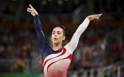 Alexandra Raisman of Team U.S.A. competes on the beam during the women