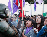 Members of various feminist organizations rally against gender violence on the International Day for the Elimination of Violence Against Women in Valparaiso, Chile.