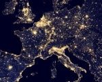 A nighttime view of Europe made possible by the Visible Infrared Imaging Radiometer.