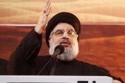 Lebanon's Hezbollah leader Sayyed Hassan Nasrallah addresses his supporters.
