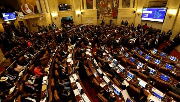 Colombia's lower house, during voting on whether to approve the transitional justice courts established in the peace agreement with the FARC in Bogota, Colombia November 27, 2017.