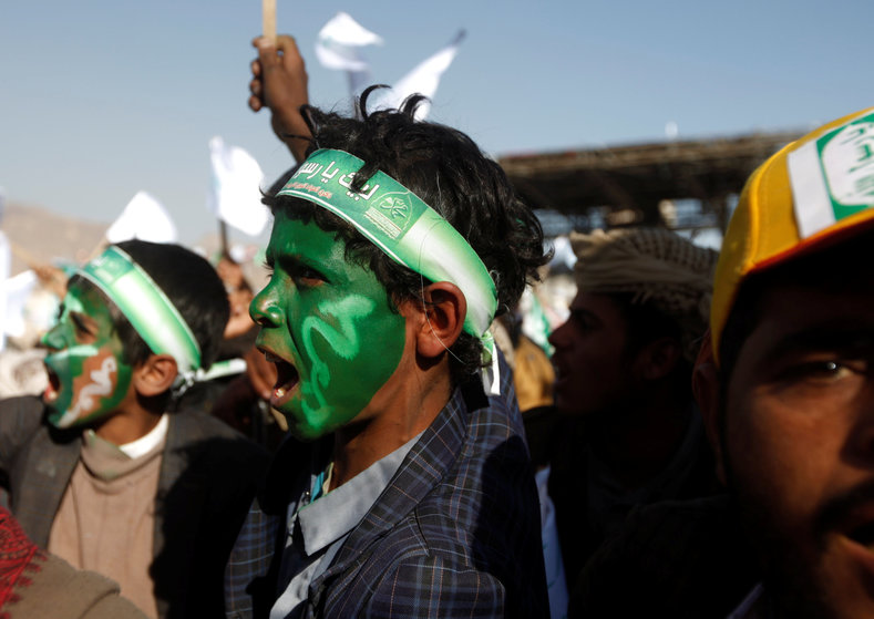 The day was intensely political as Yemenis dressed in Houthi colors and showed their support for the movement.