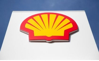 A logo for oil giant Shell on a garage forecourt in central London, in the United Kingdom.