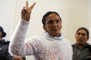Milagro Sala, the leader of the Tupac Amaru social welfare group, gestures during her trial in San Salvador de Jujuy, Argentina, December 28, 2016. Picture taken on December 28, 2016.