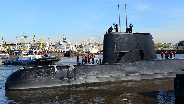 Missing Argentine submarine the ARA San Juan and her crew, pictured at Buenos Aires port in 2014.