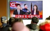 People watch a TV broadcasting a news report on North Korea firing what appeared to be an intercontinental ballistic missile (ICBM) that landed close to Japan, in Seoul, South Korea, November 29, 2017.