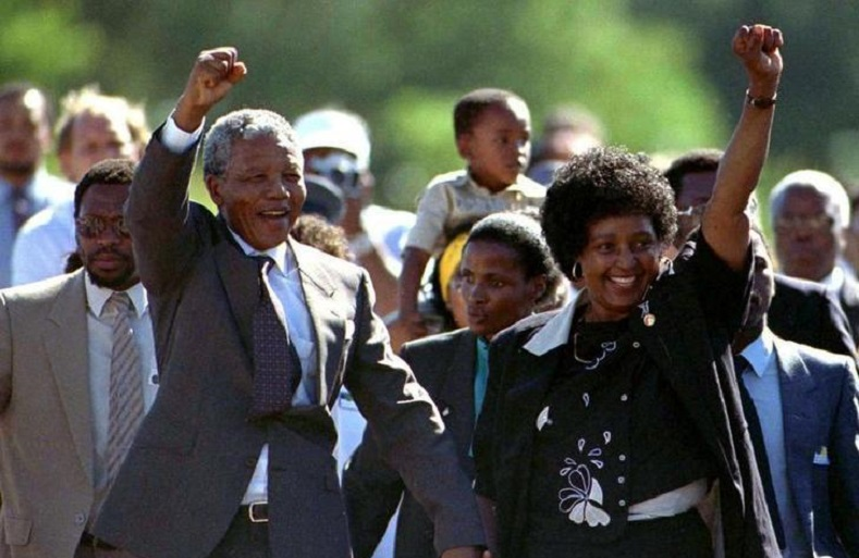 Mandela, accompanied by his former wife Winnie, moments after his release from prison February 11, 1990.