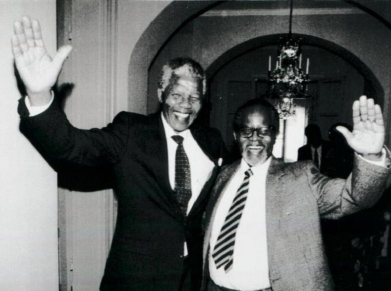 Mandela and Oliver Tambo meet for the first time after 28 years on March 12, 1990.