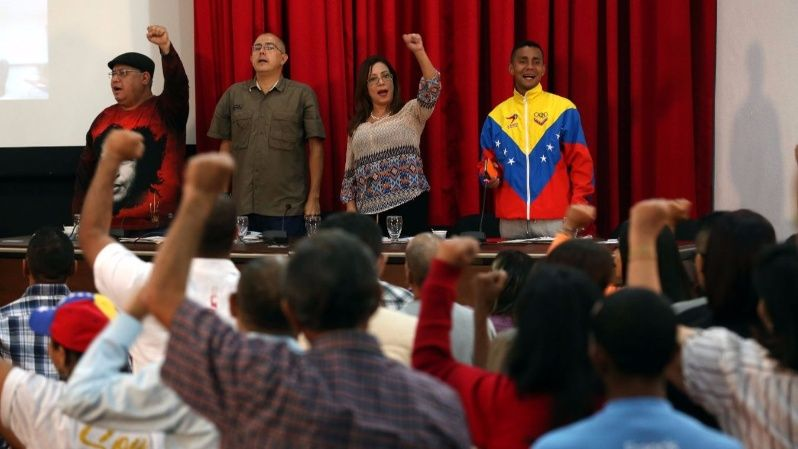Tania Diaz vice president of the PSUV meets with the heads of municipal campaign ahead of the 2017 municipal elections.