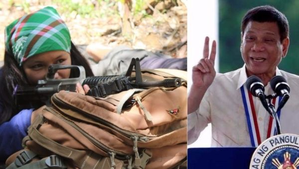 An NPA combatant (L) and Philippines President Rodrigo Duterte (R).