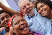 Former Brazilian president Lula with students at the Federal Institute of Teaching in Cariacica, Espirito Santo.