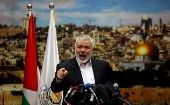 Hamas Chief Ismail Haniyeh giving a speech in Gaza City.