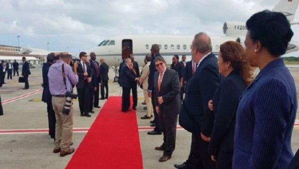 Cuban President Raul Castro Ruiz arrives in Antigua and Barbuda.