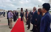 Cuban President Raul Castro Ruiz arrives in Antigua and Barbuda.