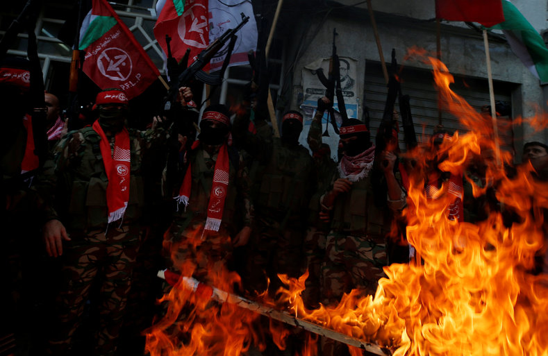The PFLP (pictured) issued a statement not only condemning Trump