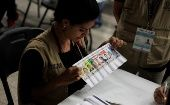 Scrutineers re-count ballots of the general election during a partial re-count in presidential vote in Tegucigalpa.