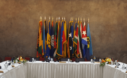 The main meeting room of the 6th Caricom-Cuba Summit, in Antigua and Barbuda, December 2017.