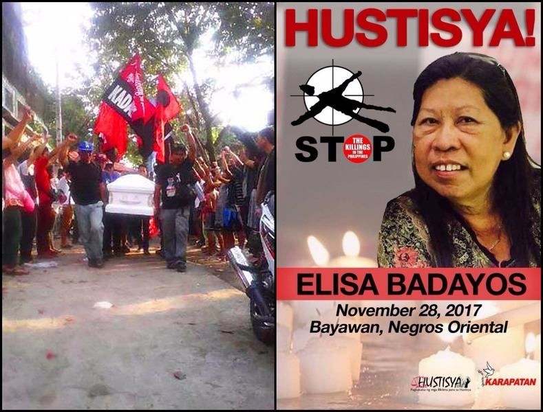 """Elisa Badayos, human rights worker killed in the line of duty, is laid to rest today in Cebu City as the world commemorates the 69th International Human Rights Day. Saludo Elisa! Woman human rights defender, victim of state terrorism under the U.S.-Duterte regime"""