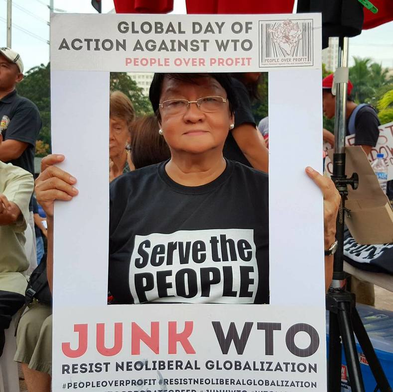 Various figures including Former Social Welfare Secretary Judy Taguiwalo joined the call by social movement People Over Profit to demand the junking of the WTO.