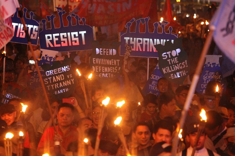 At least 12 rallies were held across the archipelago on Sunday, with human rights group KARAPATAN and progressive alliance BAYAN taking the lead alongside a range of like-minded groups calling for an end to what they describe as the U.S.-Duterte regime.