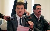 Salvador Nasralla, presidential candidate for the Opposition Alliance, speaks during a news conference with former Honduran president Manuel Zelaya.