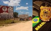 The entrance to the Hugo Chavez camp in Para (L), and the badge of Brazil
