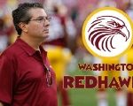 Washington Redskins Coach Dan Snyder next to a fictional