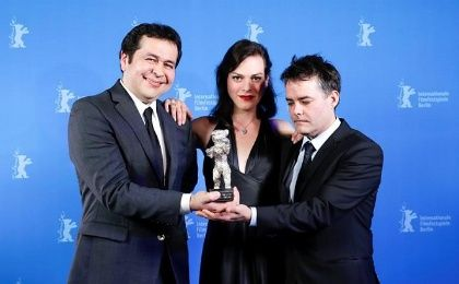 Sebastian Lelio (L), Daniela Vega (C) and Gonzalo Maza (R) at the Berlin Festival.