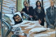 Akayed Ullah is seen in this courtroom sketch appearing by video for a hearing from his bed in Bellevue Hospital in New York, NY, U.S., December 13, 2017. REUTERS/Jane Rosenberg