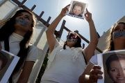 Members of the media protest the murder of Mexican journalist Miroslava Breach in Ciudad Juarez, Mexico, in March.