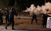 Police fire tear gas towards opposition supporters during a protest after Honduras