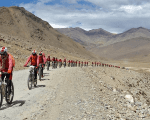 Buddhist nuns from the Drukpa lineage pictured in Ladakh during their cycle across the Himalayas to raise awareness about human trafficking of girls and women in the impoverished villages in Nepal and India August 30, 2016.